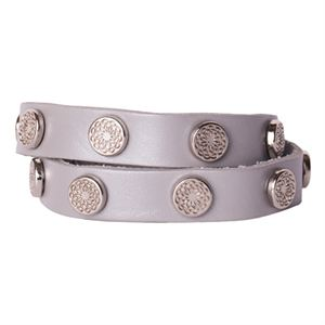 Picture of Silver Metallic Leather Wrap with Silver Studs