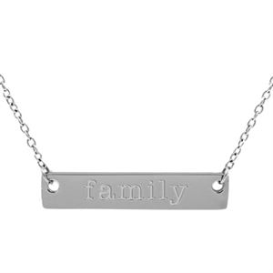"""Picture of Silver 'Family' Bar Necklace - 16"""""""