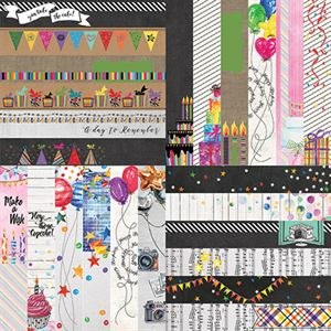 "Picture of Everyday Birthday by Lauren Hinds 2"" Border Strips - Set 12"